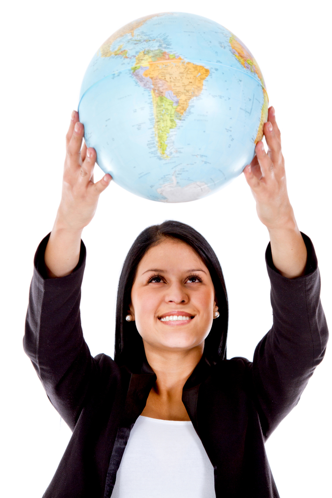 Woman holding a globe - isolated over a white background